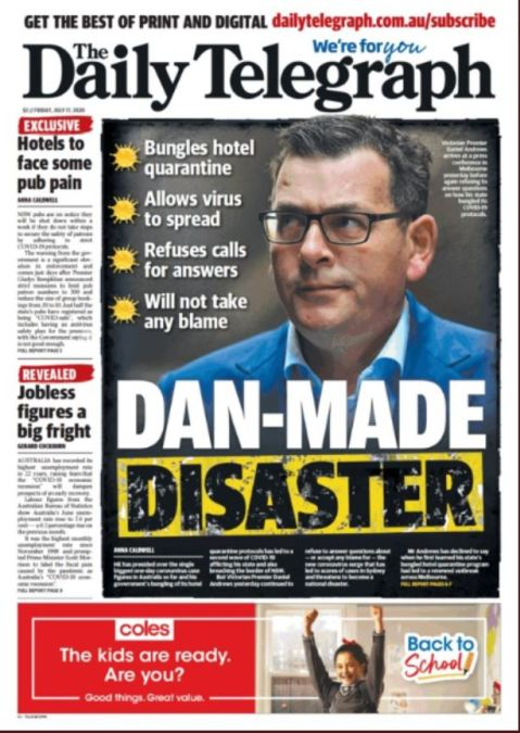 daily tele front cover - dan made disaster